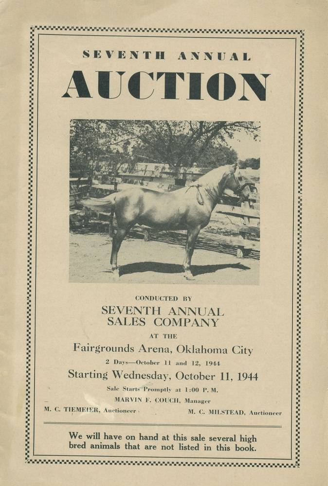 Seventh Annual Auction [Saddlebred, Palomino horses]. Oklahoma City Seventh Annual Sales Co.