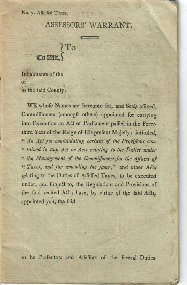 Assessors' Warrant [taxes on carriage horses and vehicles, 1814]. Great Britain. Unidentified tax office.