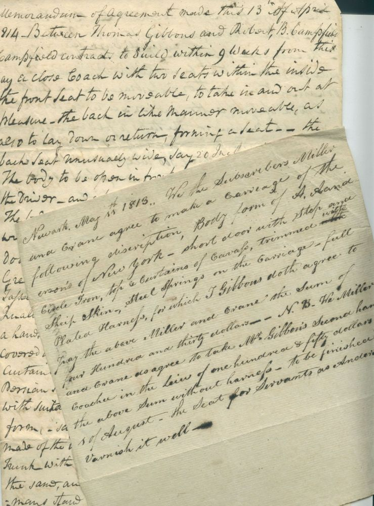 Two Early 19th-Century Manuscript Orders for Carriages, Newark, NJ. Thomas Gibbons, buyer of coaches.