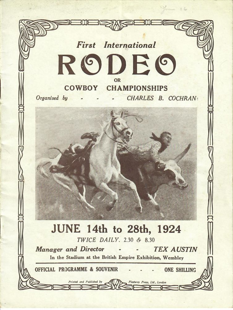 First International Rodeo or Cowboy Championships program [and] El Rodeo by Simpson. Tex Austin, Charles B. Cochran, Charles Simpson.