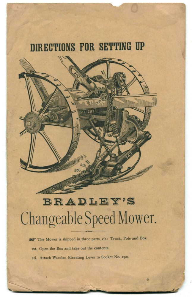 Directions for Setting Up Bradley's Changeable Speed Mower. Bradley, farm machinery firm.