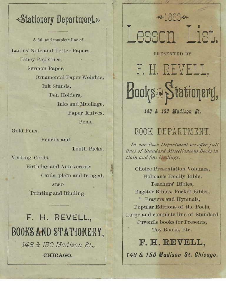 1883 Lesson List. Books and Stationery F H. Revell.