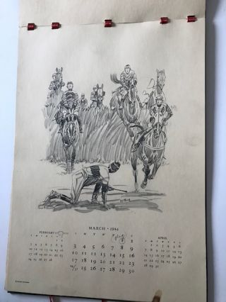 Paul Brown Calendar 1946 [signed, with 4 pencil sketches]