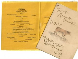Third Annual Dinner [menu printed on silk]. Boston Marketmen's Republican Club