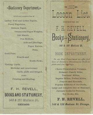 1883 Lesson List. Books and Stationery F H. Revell